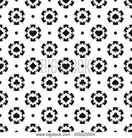 Black And White Poker Chips Seamless Pattern. Monochrome Casino Chip With Card Suits Hearts, Spades,