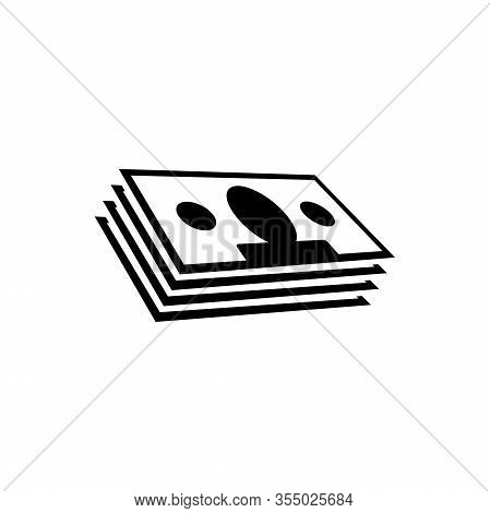 Money Stack, Dollars Banknotes, Cash. Flat Vector Icon Illustration. Simple Black Symbol On White Ba