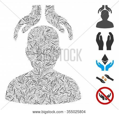 Line Mosaic Based On Psychiatry Hands Icon. Mosaic Vector Psychiatry Hands Is Formed With Random Lin