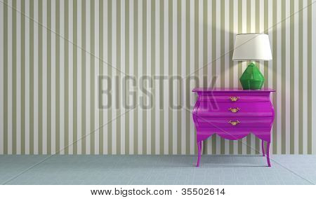 Pink retro commode with green lamp