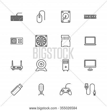 Hardware, Computer Parts Outline Icons Set - Black Symbol On White Background. Hardware, Computer Pa