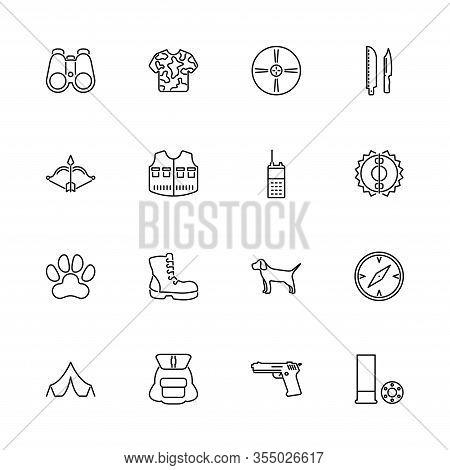 Hunting Tools, Safari, Hunt Outline Icons Set - Black Symbol On White Background. Hunting, Safari, H