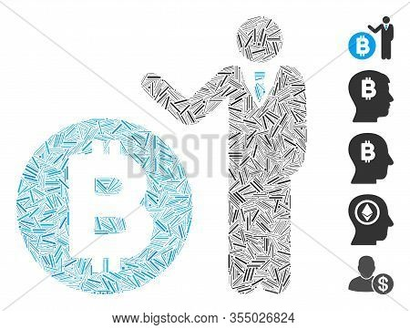 Hatch Mosaic Based On Bitcoin Banker Icon. Mosaic Vector Bitcoin Banker Is Composed With Random Hatc