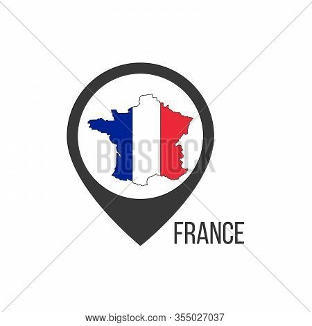 Map Pointers With Contry France. France Flag. Stock Vector Illustration Isolated On White Background