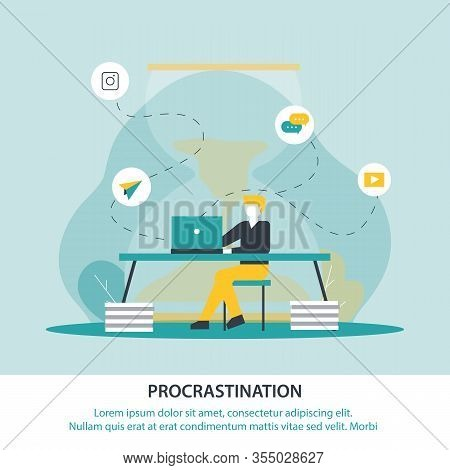 Inscription Procrastination Vector Illustration. Student Is Distracted From Learning Social Networks