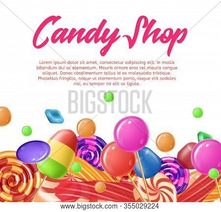 Lettering Written Candy Shop Banner Landing Page. Vector Realistic Illustration. Traditional Colorfu