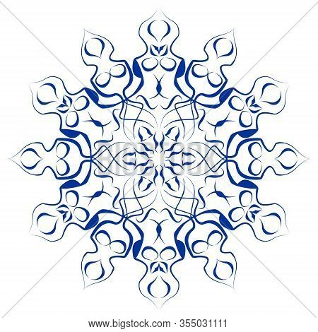 Circle Flower Blue Ceramics Design, Symmetric Cobalt Patterns On White Background, Ceramic In Portug