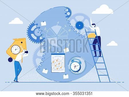 Flyer Efficient Sequential Task Execution Flat. An Office Employee Climbed Stairs And Adjusts Gears