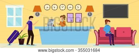 Cartoon Man At Reception Desk Vector Illustration. Woman Receptionist Welcome Guest In Hotel Hall. R
