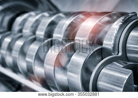 Industrial Open Mixer In Food Industry Close-up. Metal Details Industrial Design Background