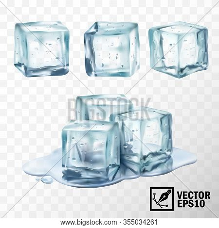 3d Realistic Vector Transparent Ice Cubes In Different Forms, Melting Ice Cubes In A Puddle Of Water