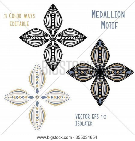 Eastern Floral Ogee Motif Vector Clipart Isolated . Hand Drawn Ethnic Doodle Style Persian Or Slavic