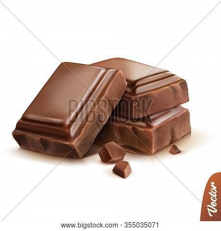 3d Realistic Isolated Vector Icon, Three Pieces Of Milk Or Dark Chocolate With Crumbs