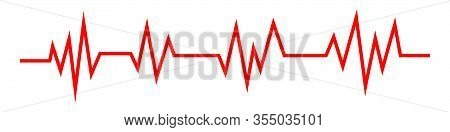Heartbeat Line Icon In Flat Style. Heartbeat Wave. Pulse Symbol Isolated. Vector Illustration.