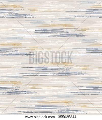 Grey French Linen Vector Broken Stripe Texture Seamless Pattern. Brush Stroke Grunge Ornamental Abst