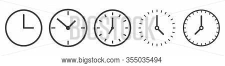 Set Of Time And Clock Icons In Thin Line Style. Outline Time Icons Isolated. Linear Clock Icons. Vec