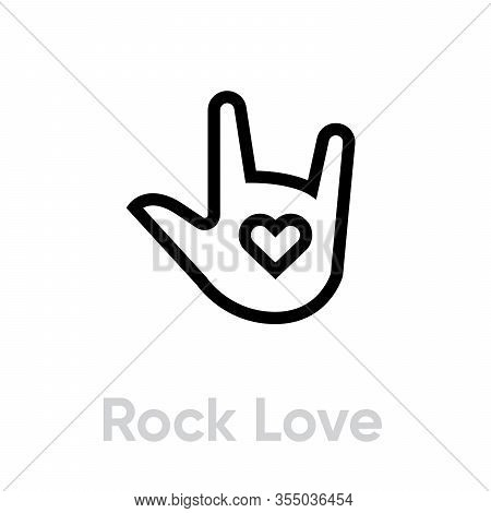 Hand Gesture Love Rock Icon. Vector Editable Line Single Pictogram Isolated On White Background.