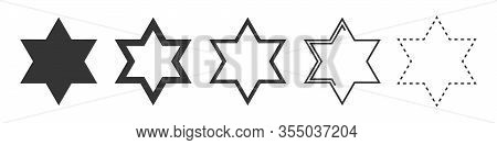 Star Of David Vector Icon. Set Of Religion Stars On White Background. Vector Illustration. Various S