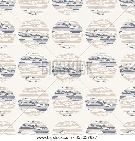 Grey French Linen Vector Polka Dot Texture Seamless Pattern. Brush Stroke Grunge Shappy Chic Abstrac