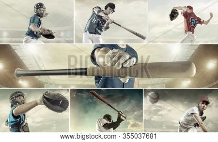 Collage of images with Baseball players in dynamic action on stadium. Sport and people concept.