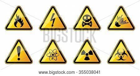 Set Of Danger Symbols. Vector Set Of Warning Signs. Set Of Triangular Warning Hazard Signs. Vector I