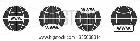 Www Icon. Website Icons Set. Www Icons In Flat Style. Black Globe Earth Icons. Vector Illustration.