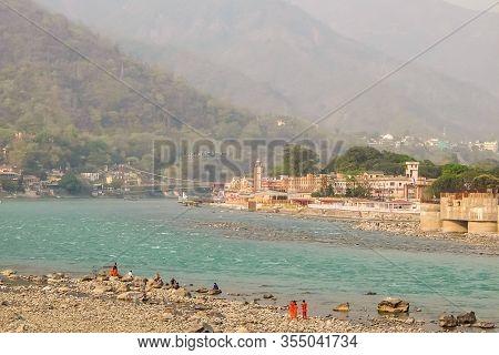 Rishikesh, India - Circa March 2018. Beautiful View Of Ganga River Embankment In Rishikesh