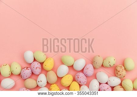 Happy Easter Concept. Preparation For Holiday. Easter Candy Chocolate Eggs And Jellybean Sweets Isol