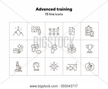 Advanced Training Icon Set. Line Icons Collection On White Background. Puzzle, Coaching, Skill. Expe