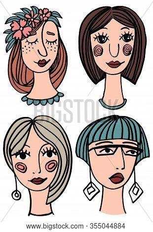 Stylized Portrait Of A Girl - Set Of Fashion Illustrations. Cute Cartoon Pattern.