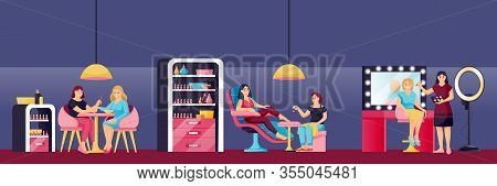 Young Beautiful Girls Do Manicure, Pedicure And Makeup In Beauty Salon. Vector Flat Cartoon Illustra