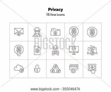 Privacy Line Icons. Set Of Line Icons. Cloud With Padlock, Screen With Shield. Internet Security Con