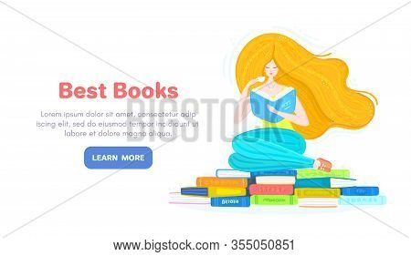 Vector Background With Redheaded Girl With Pile Of Books And Cup Of Tea. Bookworm. Reading. Woman Is