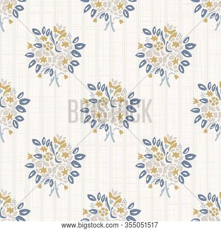 French Shabby Chic Damask Vector Texture Background. Dainty Flower Bouquet On Off White Seamless Pat