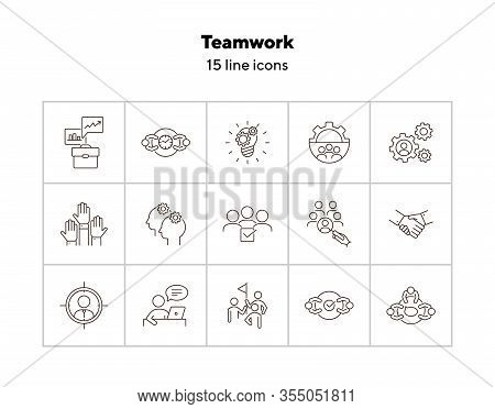 Teamwork Line Icon Set. Team, Staff, Meeting, Discussion, Success. Business Concept. Can Be Used For
