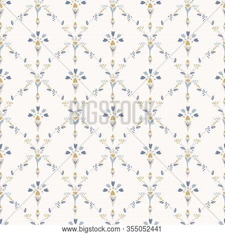 French Shabby Chic Damask Vector Texture Background. Dainty Flower In Blue And Yellow On Off White S