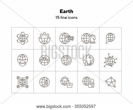 Earth Line Icon Set. Globe, Planet, World, Affairs. Foreign Relations Concept. Can Be Used For Topic