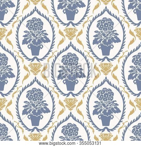 French Shabby Chic Damask Vector Texture Background. Primula Spring Flower Pot White, Yellow Blue Se