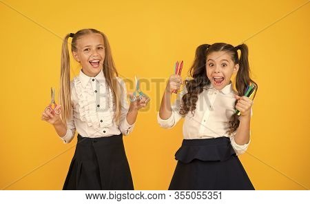 Pick The Perfect Colors For Drawing. Happy Small Children Holding Drawing And Cutting Tools. Little