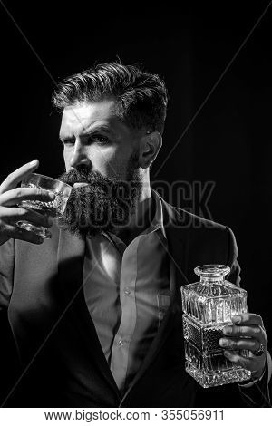 Bartender With Glass Whiskey. Sad Man With Depression Looking In Camera. Alcoholic Drinking Alcohol.