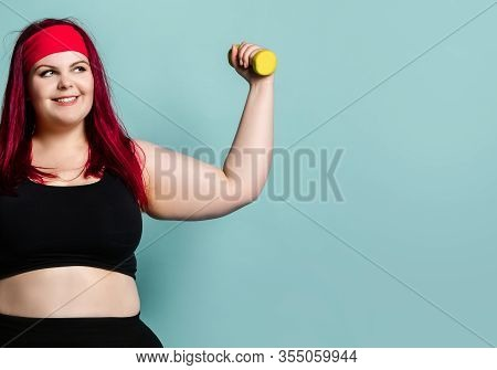 Fitness Spring Diet Weight Loss Concept. Lucky Plus-size Girl Overweight Woman Dieting Working Out W