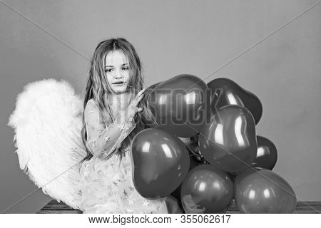 Valentines Day. Happy Angel Girl Over White. Cute Child Girl Posing With Angel Wings. Angel Child. B