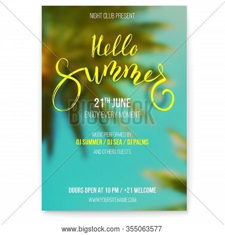 Hello Summer. Beach Party Flyer. Handwritten Text On Blurred Tropical Background. Palms And Blue Sky