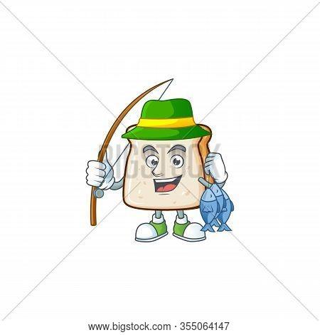 Cartoon Character Of Funny Fishing Slice Of Bread