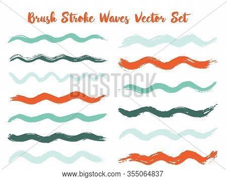 Scribble Brush Stroke Waves Vector Set. Hand Drawn Red Teal  Brushstrokes, Ink Splashes, Watercolor