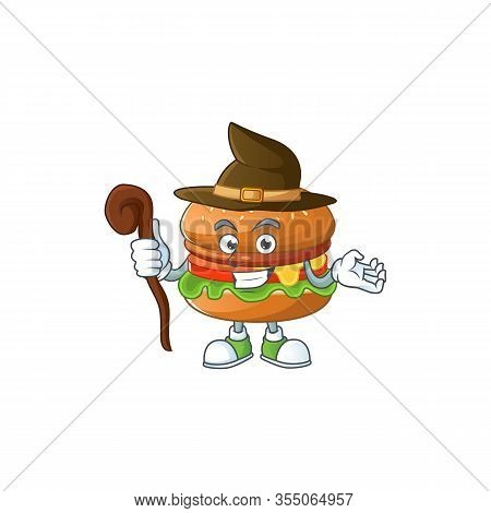 Sweet And Tricky Witch Hamburger Cartoon Character