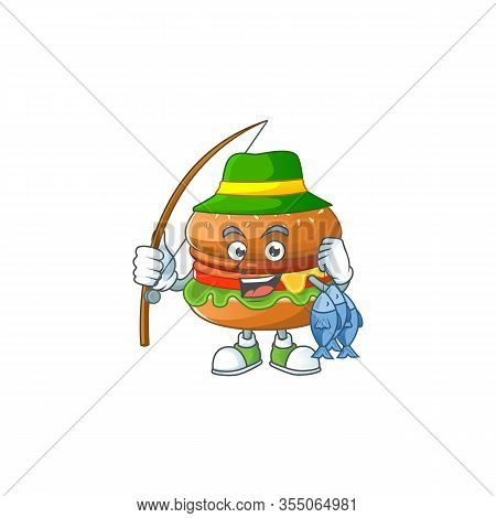 Cartoon Character Style Of Funny Fishing Hamburger