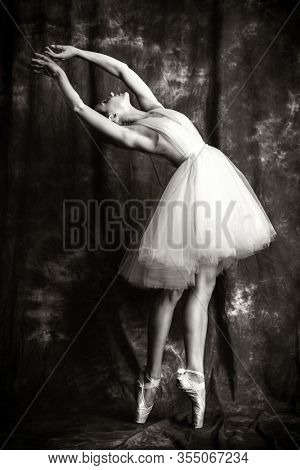A full length portrait of an elegant refined female ballet dancer posing in the studio over the grunge background. Talent, fashion for ballet dancers.