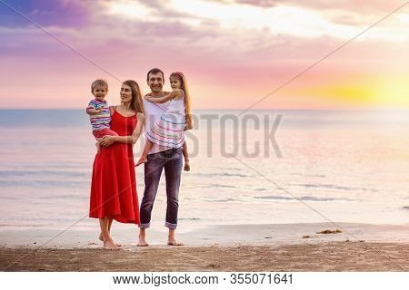 Family With Kids On Tropical Beach. Sea Vacation.