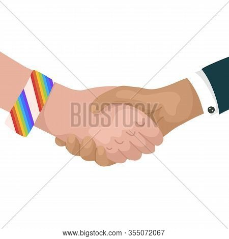 Vector Flat Illustration Of Shaking Hands With Rainbow Bracelets And Businessman. Friendship Day. Ec